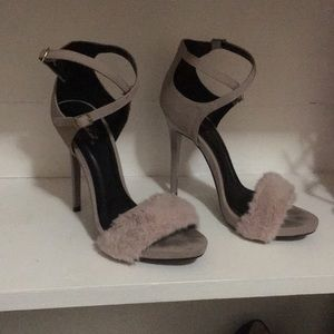 Faux fur suede heels
